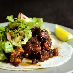 Korean style BBQ short ribs tacos, inspired by the infamous Kogi truck