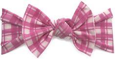 Baby Bling Hot Pink Plaid Printed Knot Headband