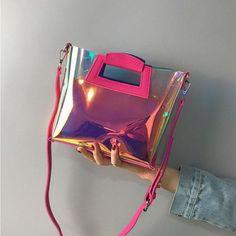 Hot Pink Crossbody Clear Bag Fashion Holographic Handbags - Bags and Purses 👜 Cute Handbags, Cheap Handbags, Handbags On Sale, Popular Handbags, Wholesale Handbags, Latest Handbags, Fabric Handbags, Fabric Bags, Handbags Online