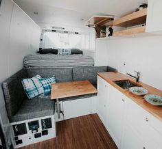 Sprinter Van Conversion Layout 22 - Quinn Qualls - It is possible to get away from it all. Sprinter Van Conversion, Van Conversion Layout, Minivan Camper Conversion, Van Conversion Interior, Van Interior, Bus Conversion, Interior Design, Interior Ideas, Campervan Conversions Layout