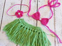 Crochet Hula Skirt Bikini Top Heaband por SweetpeasAlley en Etsy