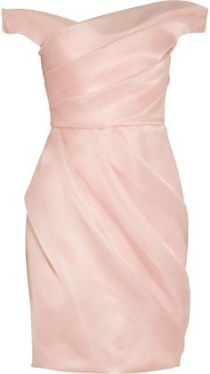 Lela Rose Pink Pleated Silk Organza Dress