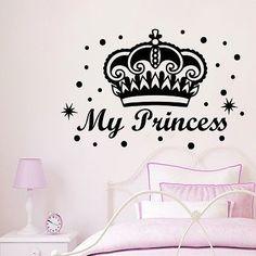 Wall Decals My Princess Crown Decal Nursery Girl Room Decor Vinyl Sticker MR452