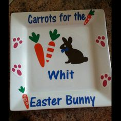 Check out this item in my Etsy shop https://www.etsy.com/listing/175768421/easter-bunny-plate-carrots-for-the
