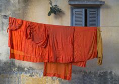Buddhist monk robes hanging on clothesline - stock photo Buddhist Monk Robes, Avatar Aang, Avatar The Last Airbender, Suki, Legend Of Korra, Aladdin, Washing Lines, Clotheslines, Overwatch