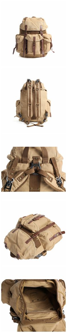 ROCKCOW Leather Waxed Canvas Backpack, School Shoulder Backpack, Travel Backpack 2296-1