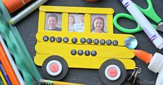 Create this school bus frame out of craft sticks to display back to school photos as a fun keepsake.