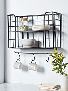 New wall storage unit hallways 15 Ideas Wall Mounted Storage Shelves, Wire Shelving Units, Wire Storage, Hallway Storage, Metal Shelves, Wall Shelving, Hallway Shelf, Open Shelving, Kitchen Storage Units