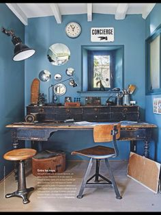 My French Country Home, French Living - Sharon Santoni My French Country Home, French Country Decorating, French Style, Country Living, Industrial Workspace, Industrial Chic, French Industrial, Blue Office, Interior And Exterior