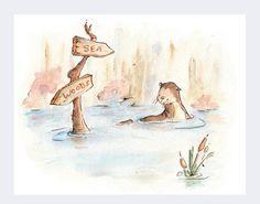Children Art. THE CROSSROADS. Print 8X10. Nursery by LoxlyHollow