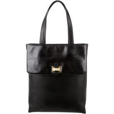 Pre-owned Oscar de la Renta Black Clara Tote (1,220 CAD) ❤ liked on Polyvore featuring bags, handbags, tote bags, black, zipper tote, zip tote, genuine leather tote, leather handbags and leather tote purse