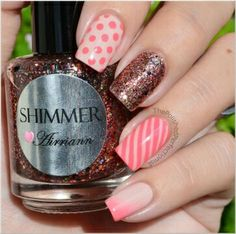 Pink & nude stripes, ombre & dots w/shimmer glitter.