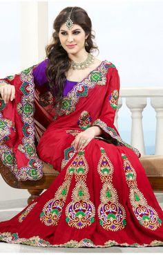 Ravishing Red Designer Lehenga Saree (VIVSARG1010) - OnlineDesignerStore.com