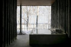A sprawling luxury ryokan like something out of a James Bond film. Hidden in Hokkaido's lush forest, each of the 15 modern villas has private, unspoiled views of white birches through the floor-to-ceiling windows and a chic outdoor onsen tub and patio. Floor To Ceiling Windows, Patio, Japan, Flooring, Luxury, Modern, Birches, Outdoor, James Bond