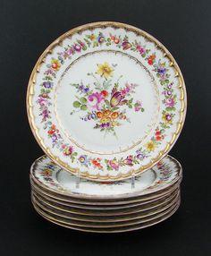 Set 8 Antique Dresden Porcelain Hand Painted Dessert Plates by Franziska Hirsch   eBay