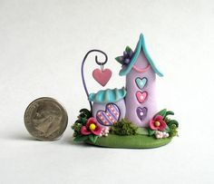Miniature Fairy Whimsy House on LOVE Heart Trio by ArtisticSpirit