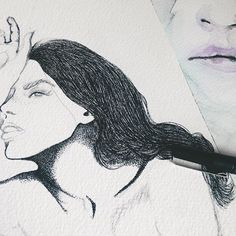 Les freckles ✨✨ *** #details #art #artwork #artist #artistoninstagram #illustration #wip #inkdrawing #drawing #inktober #watercolor