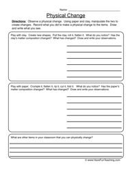 Physical Changes Worksheet 1   Physical change and Worksheets