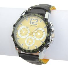 Sale 14% (7.69$) - PU Black Analog Leather Stainless Steel Quartz Sport Men Wrist Watch