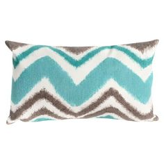 Zig Zag Decorative Indoor/Outdoor Pillow - Turquoise - 12x20 : Target