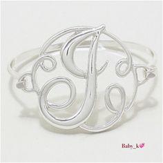 "✨J - Monogram Bracelet Silvertone  Curlicue Initials Bracelet - 1 3/4"" H X 2 1/4"" Diameter 15^% Off Bundle NICKEL FREE & LEAD FREE Boutique Jewelry Bracelets"