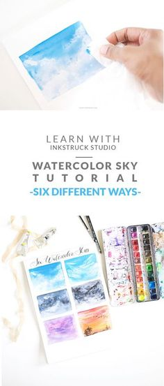 Learn 6 ways to paint a watercolor sky - inkstruck studio watercolor techniques, art techniques Watercolor Clouds, Watercolor Tips, Watercolour Tutorials, Watercolor Pencils, Watercolor Techniques, Watercolour Painting, Painting & Drawing, Watercolours, Simple Watercolor