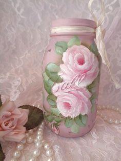 VICTORIAN LAVENDER BALL JAR hp chic shabby roses vintage cottage hand painted #VintageJar #SHABBYROMANCE