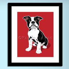 dog wall art for kids Boston Terrier chevron childrens art prints -  8x10 dog print -  custom colors boys room kids nursery decor