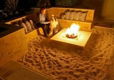 Outdoor fire pit idea- this is cool too! Beach feel:)