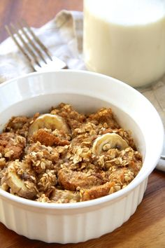 This single-serve banana oat baked french toast is vegan, refined sugar free, easily made gluten-free, and packed with fiber and plant-based protein