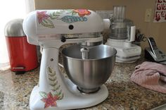 Personalize your Kitchen Aid mixer with your own designs.  Get the tutorial for making the decals on my blog at http://laurabraydesigns.com/kitchen-aid-mixer-makeover  I think this is ever so cool an idea.
