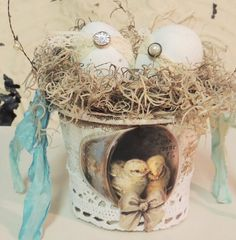 Easter Egg Basket Shabby Chic Vintage Baby Chicks Bird Nest Spring Decor Peat Pot