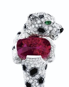 Cartier panter ring with pink sapphire