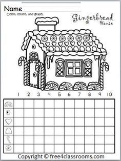 Christmas Math Activities: Free Gingerbread House Graph.  Fun winter and Christmas math activity.