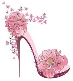 Illustration of High heels vintage shoes with flowers vector art, clipart and stock vectors. Floral Fashion, Fashion Art, 1930s Fashion, Fashion Vintage, Victorian Fashion, Fashion Fashion, Flower Shoes, Everything Pink, Shoe Art