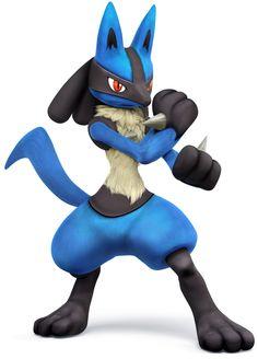 Lucario as he appears in Super Smash Bros. for Nintendo & Wii U. Super Smash Bros Brawl, Pokemon Go, Pokemon Memes, Cool Pokemon, Baby Pokemon, Nintendo 3ds, Wii U, Mega Lucario, Lucario Pokemon