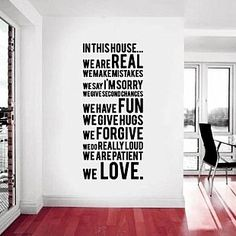 Black lettering decals that can be easily applied to walls & removed.  We believe in the power of type in decorating and these words we find very inspiring!