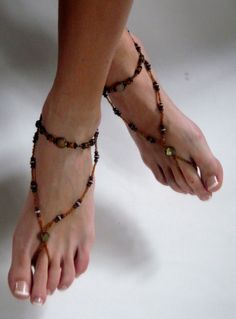 Brown Beaded Barefoot Sandals. Shoeless Foot by BareSandals, $28.00