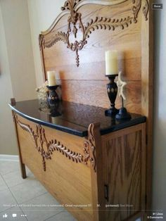DIY Upcycled and Repurposed Furniture. Stunning Sideboard made from an Antique Headboard and Footboard. Decor, Redo Furniture, Refurbished Furniture, Painted Furniture, Old Beds, Refinishing Furniture, Recycled Furniture, Farmhouse Furniture, Furniture Makeover