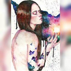 "Вот и оригинал работы, кстати, можно приобрести ;) ""Touch The Space""#акварель #живопись #космос #галактика #рисунок #watercolor #painting #cosmos #space  For sale ;)"