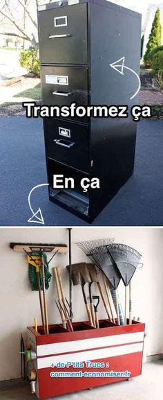 20 Creative Furniture Hacks :: Turn an old file cabinet into garage storage! - 20 Creative Furniture Hacks :: Turn an old file cabinet into garage storage!