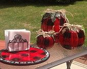 Painted Pumpkin Set of 3//Buffalo Plaid by MicheleSpragueDesign