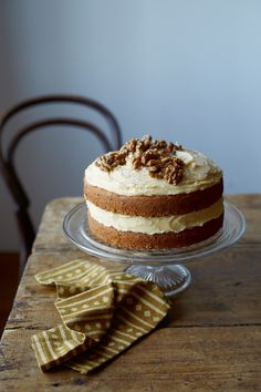 """Coffee and Walnut Cake. Recipe from """"What's for Dinner? Second Helpings"""" by Romilla Arber. Serves 8. Find more great #Cake, Desserts #recipes at Kitchen Goddess."""