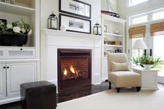 white built ins around fireplace with cathedral ceiling - Google Search
