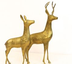 Vintage Mid Century Brass Deer Figurines  Large by plankandpearl  Christmas in July? These would be gorgeous on your table or mantle.