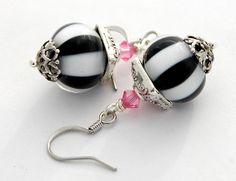 Black White Striped Lampwork Earrings, Pink Swarovski Crystal, See Matching Bracelet