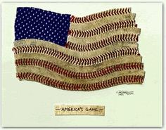 America's Game original artwork (as seen in SkyMall magazine) features a USA flag which is made with actual baseballs and navy blue mesh jersey material.