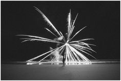 Black and White Long Exposure Fireworks on the Beach   Print for Sale   Myrtle Beach, SC   Virginia Photographers   Rowlands Photography
