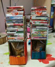 Van melkpakken, loly stokjes ,en gerolde papiertje een mooi vogelhuisje gemaakt door Saar 5 jaar en Maud 7 jaar