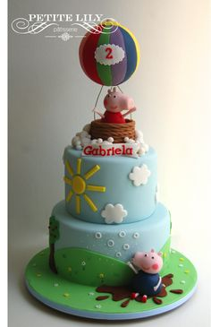 Peppa pig balloon ride/ Bolo de Peppa no balão